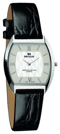 Wrist watch Seculus 1613.1.106 white, ss, black leather for Men - picture, photo, image
