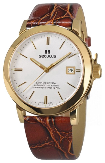 Wrist watch Seculus 9524.1.2824 white, pvd, honey leather for Men - picture, photo, image