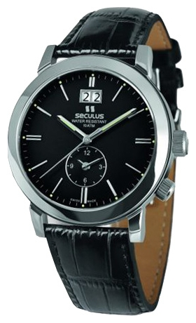 Wrist watch Seculus 9537.1.620 black, ss, black leather for Men - picture, photo, image
